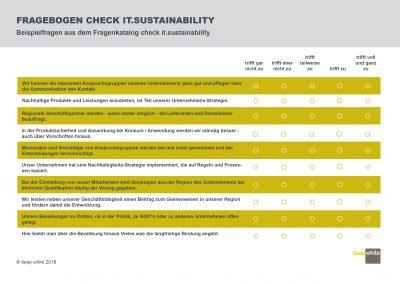 Beispielfragen aus dem Fragenkatalog check it.sustainability