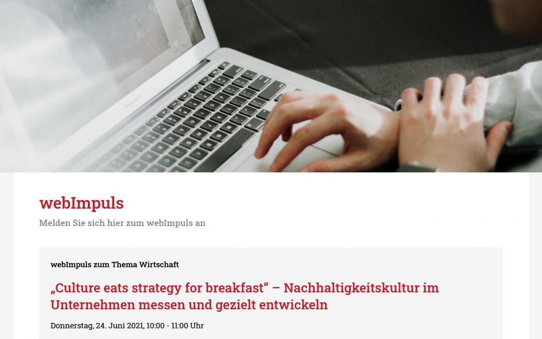 """Webinar: """"Culture eats strategy for breakfast"""" – Nachhaltigkeitskultur im Unternehmen messen und gezielt entwickeln"""